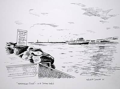 Nj Drawing - Manasquan Inlet Bc Before Condos by Melinda Saminski