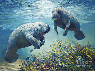 Endangered Species Painting - Manatee's by Laurie Hein