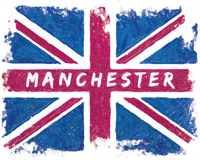 European City Digital Art - Manchester Distressed Union Jack Flag by Mark E Tisdale
