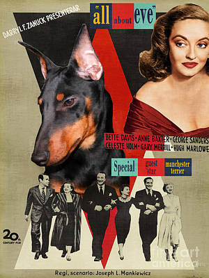 Painting - Manchester Terrier Art Canvas Print - All About Eve Movie Poster by Sandra Sij