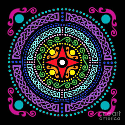 Kim Digital Art - Mandala Celtic Chakras by Kim Victoria