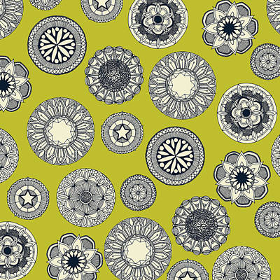 Lime Painting - Mandala Cirque Spot Chartreuse by Sharon Turner