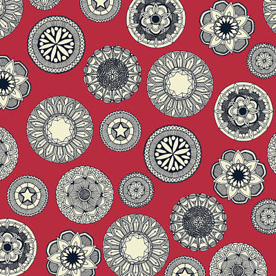 Mandala Cirque Spot Red Art Print