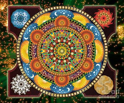 Framed Art Digital Art - Mandala Elements Sp by Peter Awax