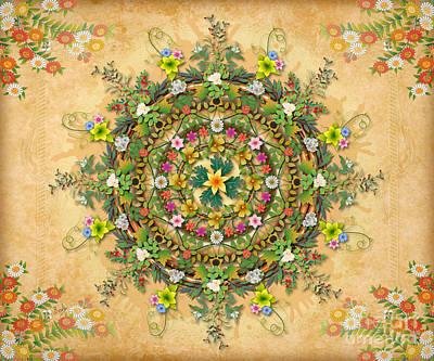 Backdrop Digital Art - Mandala Flora Sp by Bedros Awak