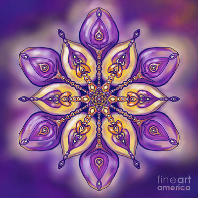 Meditative Digital Art - Mandala For M. A. by Louise Lamirande