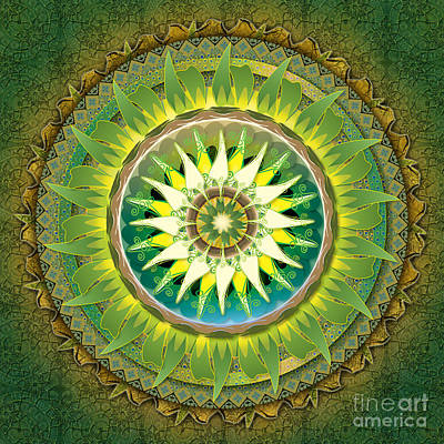 Mandala Green Art Print by Bedros Awak