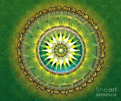 Depth Mixed Media - Mandala Green Sp by Bedros Awak