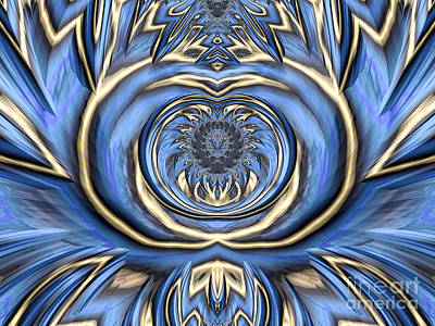 Blue Abstracts Digital Art - Mandala In Blue And Gold by John Edwards