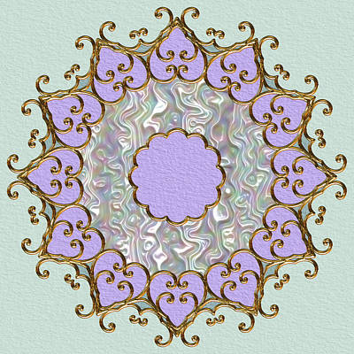 Mandala In Gold And Orchid Art Print by Pat Follett