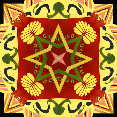 Digital Art - Mandala In Hex Style by Ginny Schmidt