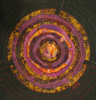 Lynda Boardman Art Tapestry - Textile - Mandala No 7 Purple Labyrinth by Lynda K Boardman