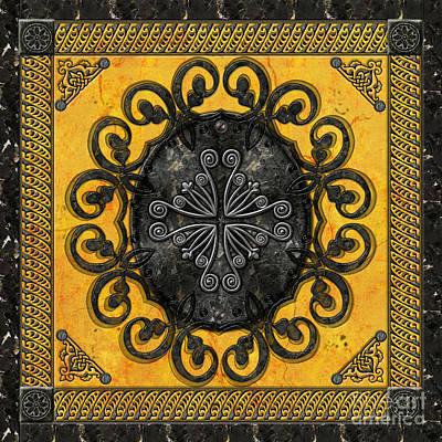 Icon Mixed Media - Mandala Obsidian Cross by Bedros Awak