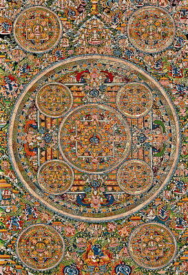 Mandala Of Heruka In Yab Yum And Buddhas Art Print