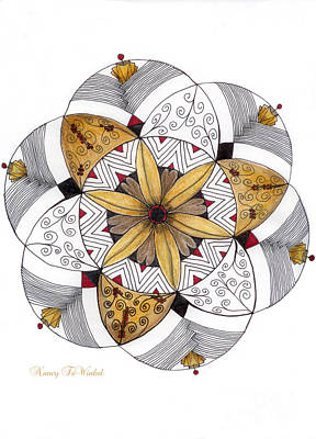 Tangle Drawing - Mandala Of Thanksgiving by Nancy TeWinkel Lauren