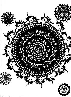 Fractal Geometry Drawing - Mandala Sampler by Amberleigh Jennings