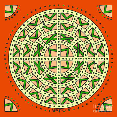 Kim Digital Art - Mandala Scottish Shield by Kim Victoria
