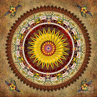 Digital Sunflower Digital Art - Mandala Sunflower by Bedros Awak