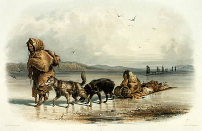 Painting - Mandan Indians With Dog Sledge, C.1840 by Science Source