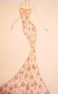 Mandarin Damask Gown Print by Christine Corretti