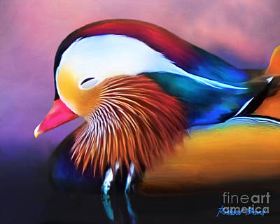 Digital Art - Mandarin Duck by Richard Beard