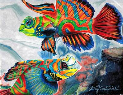 Mandarin Drawing - Mandarin Fish by Stacey Crummett