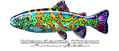 Trout Mixed Media - Mandarin Trout Savlenicus Artisticus by Savlen Art