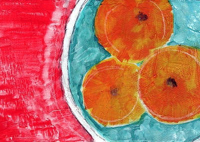 Fruit Bowl Painting - Mandarins by Linda Woods