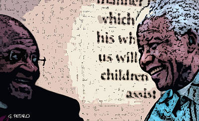 Painting - Mandela And The Bishop by George Pedro