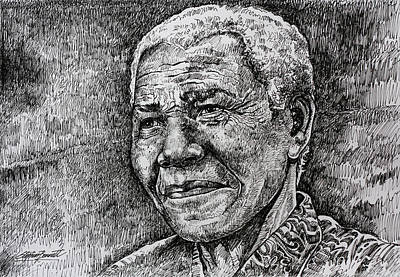 World Leader Drawing - Mandela  by Stephen  Bennett
