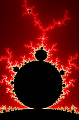 Mandelbrot Fractal Flash Power Red And Black Art Print by Matthias Hauser