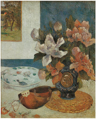 Mandolin Painting - Mandolin And Flowers by Paul Gauguin