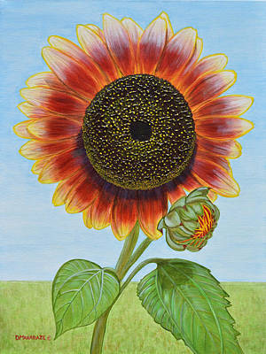 Painting - Mandy's Magnificent Sunflower by Donna  Manaraze