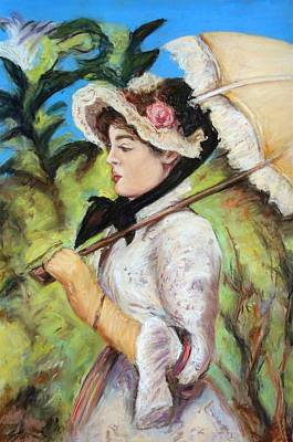Pastel - Manet Woman With Parasol by Melinda Saminski