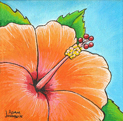 Surf Painting - Mango Madness Hibiscus by Adam Johnson