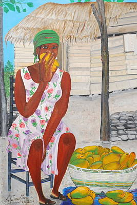 Art Print featuring the painting Mango Merchant Woman by Nicole Jean-Louis