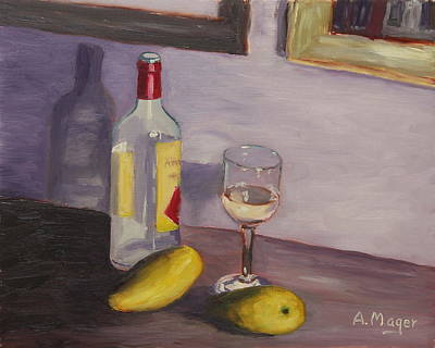 Painting - Mangoes And White Wine by Alan Mager