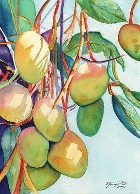 Tropical Fruit Painting - Mangoes by Marionette Taboniar