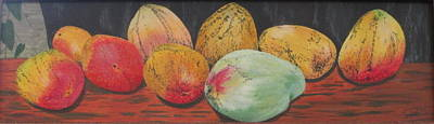 Art Print featuring the painting Mangoes On The Barbie by Hilda and Jose Garrancho