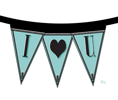 Roaring Twenties Mixed Media - Pennant Deco Blues Streamer Sign I Love You by Cecely Bloom