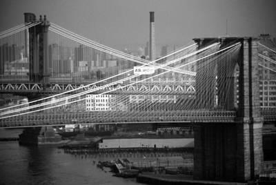 Photograph - Manhattan And Brooklyn Bridge's by John Schneider
