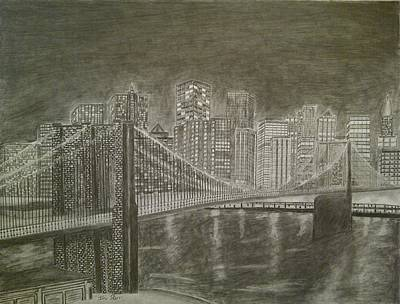 New York City Skyline Drawing - Manhattan At Night by Irving Starr