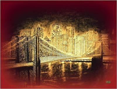 Brooklyn Bridge Drawing - Manhattan At Night R by Irving Starr