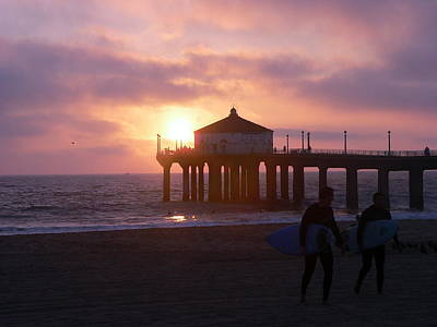 Photograph - Manhattan Beach Pier At Sunset by Jeff Lowe