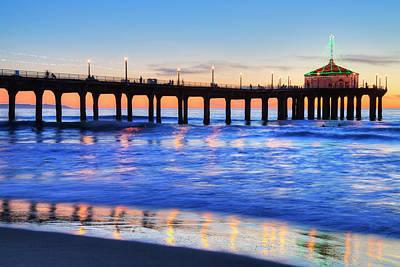 Manhattan Beach Pier At Sunset Art Print by Richard Maschmeyer