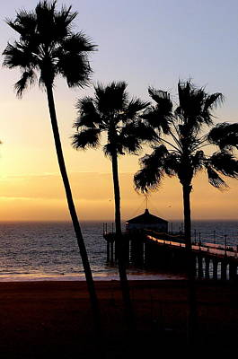 Photograph - Manhattan Beach Pier Palms by Jeff Lowe