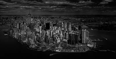 Manhattan - Bird's Eye View Print by Michael Jurek