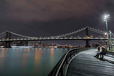 Times Square Photograph - Manhattan Bridge - New York - Usa 2 by Larry Marshall
