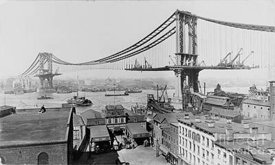 March Photograph - Manhattan Bridge 1909 by Celestial Images