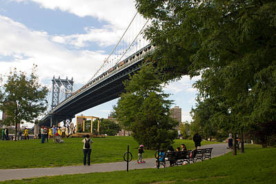 Art Print featuring the photograph Manhattan Bridge And Park by Jose Oquendo